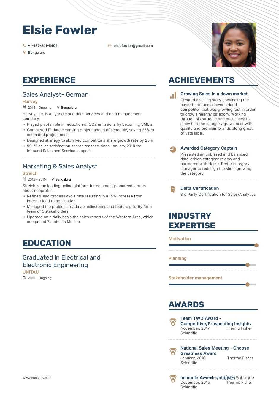 top analyst resume examples samples for enhancv great sap abap years cover letter office Resume Great Resume Samples 2020
