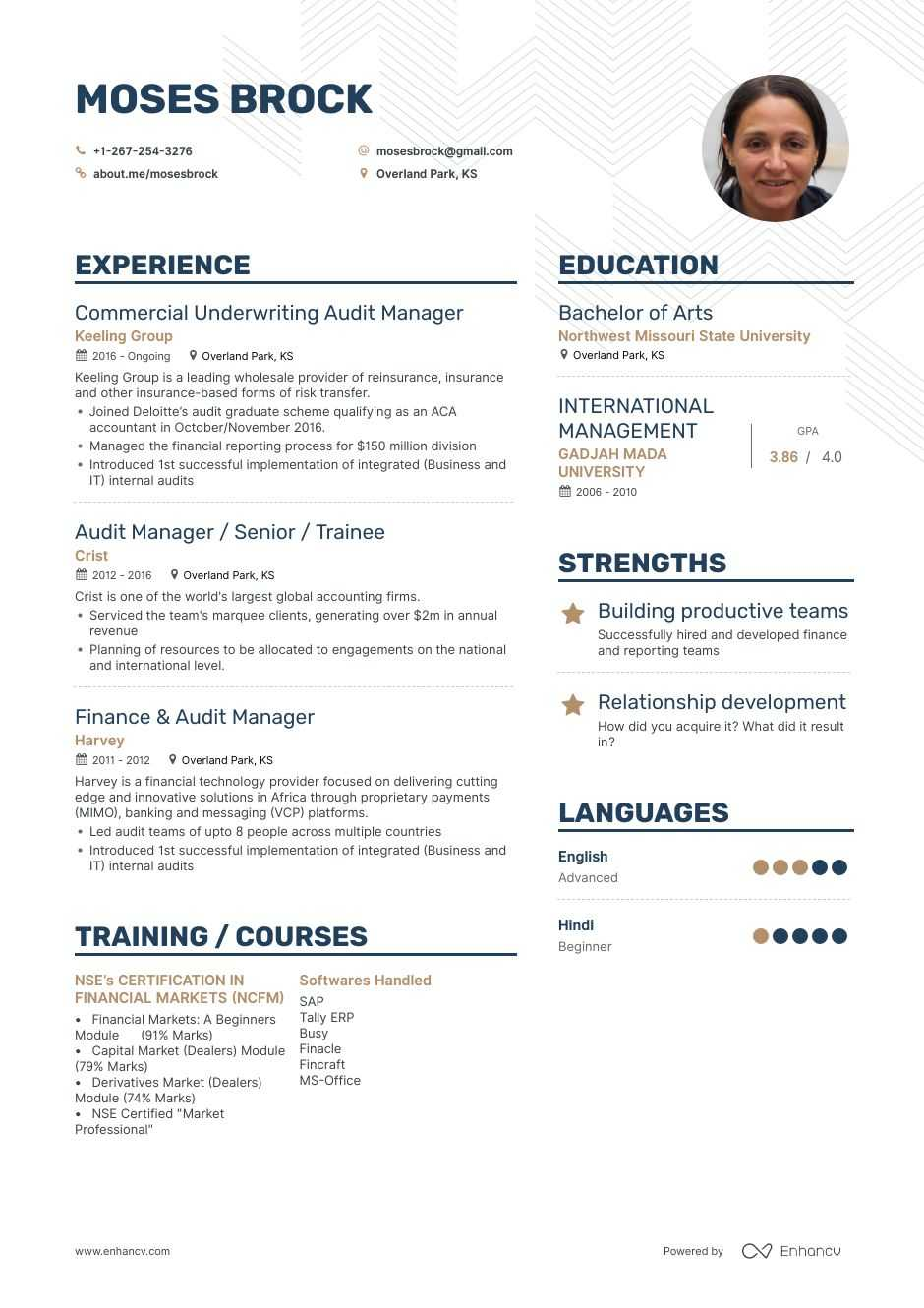 top audit manager resume examples samples for enhancv about yourself warehouse objective Resume Resume About Yourself Examples