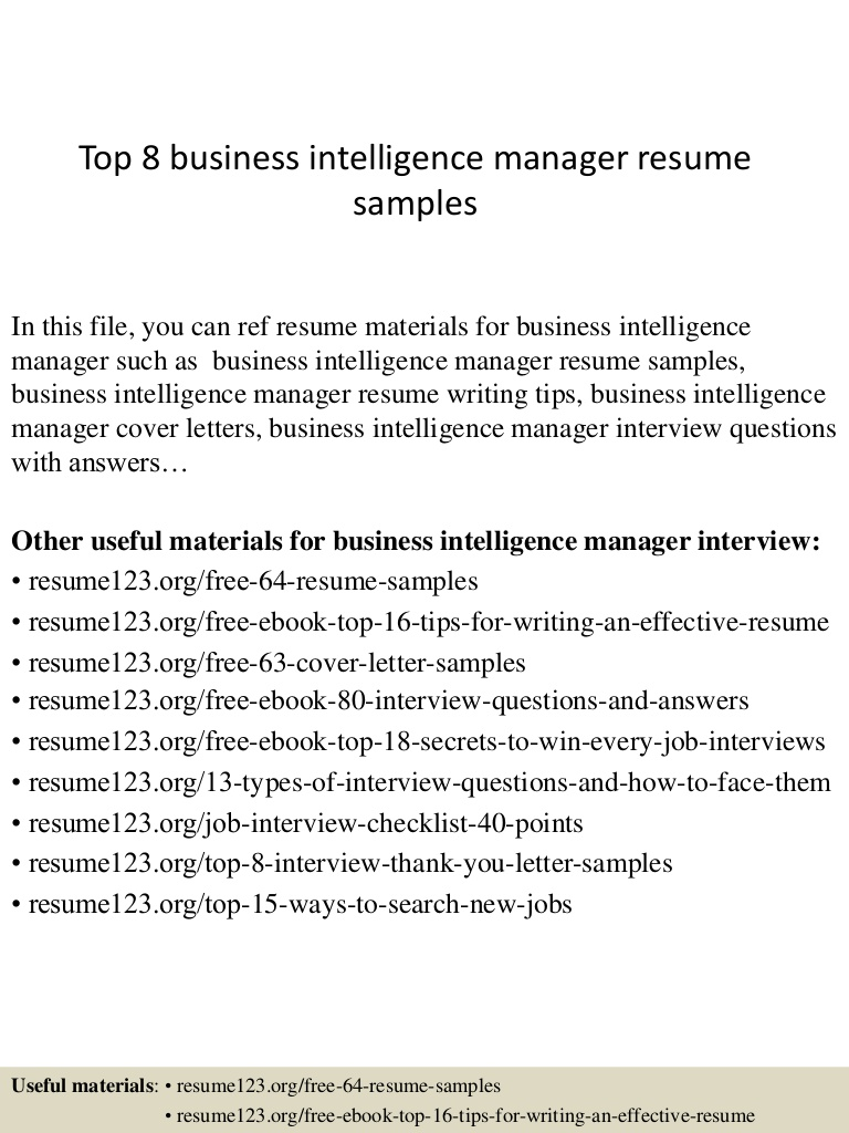 top business intelligence manager resume samples Resume Business Intelligence Manager Resume