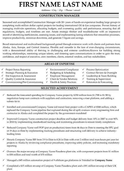 top construction resume templates samples example of project manager sample web designer Resume Example Of Construction Project Manager Resume