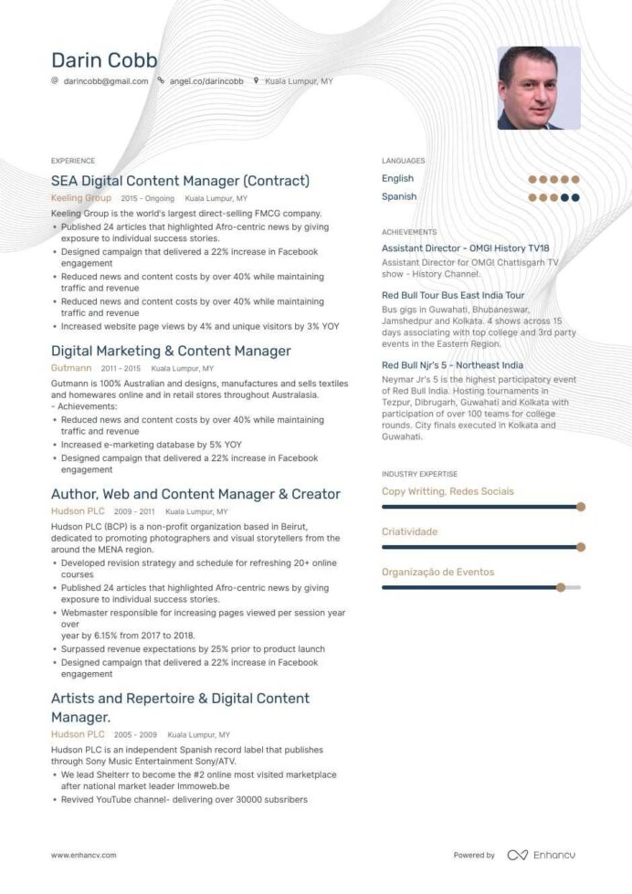 top content manager resume examples samples for enhancv web immigration consultant job Resume Web Content Manager Resume