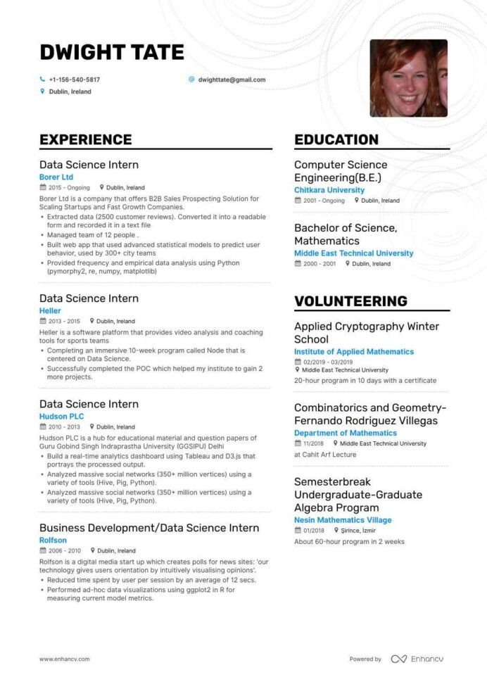 top data science intern resume examples samples for enhancv with python example of letter Resume Data Science With Python Resume