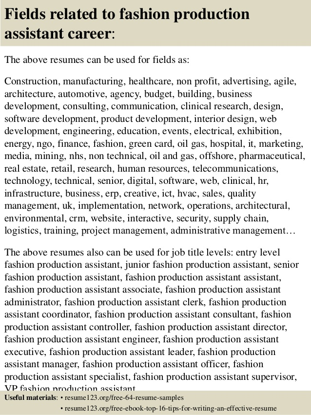 top fashion production assistant resume samples apparel senior accountant objective Resume Apparel Production Assistant Resume