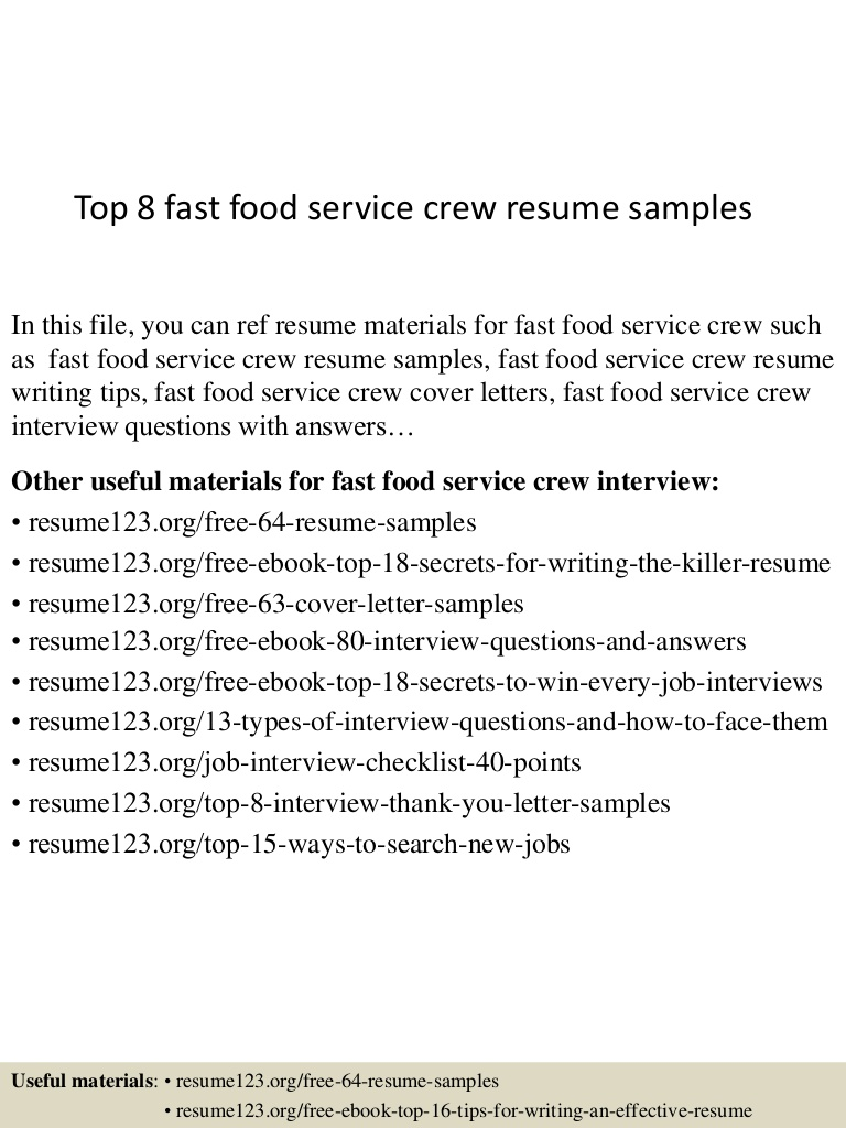 top fast food service crew resume samples objective examples for Resume Resume Objective Examples For Service Crew