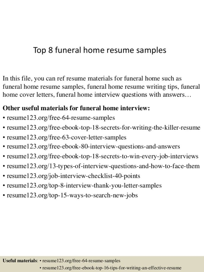 top funeral home resume samples director top8funeralhomeresumesamples lva1 app6891 Resume Funeral Director Resume