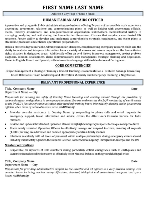 top government resume templates samples of employee gov humanitarian affairs officer Resume Resume Of Government Employee