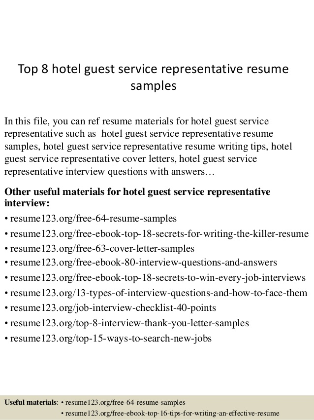 top hotel guest service representative resume samples services sample federal writers non Resume Guest Services Resume Sample