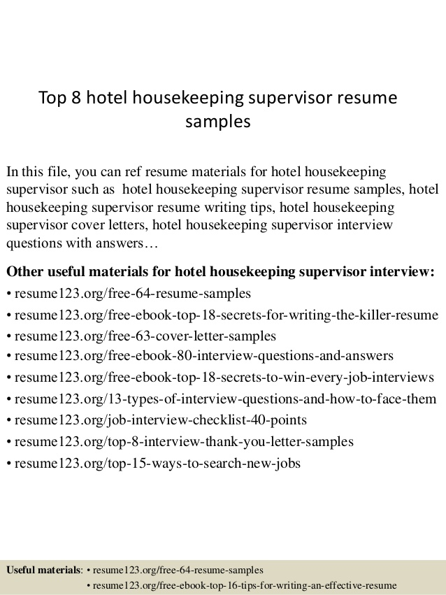 top hotel housekeeping supervisor resume samples github experience can you put references Resume Housekeeping Supervisor Resume