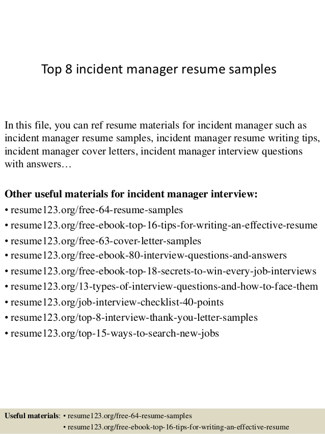 top incident manager resume samples creative chef general objective for any position Resume Incident Manager Resume
