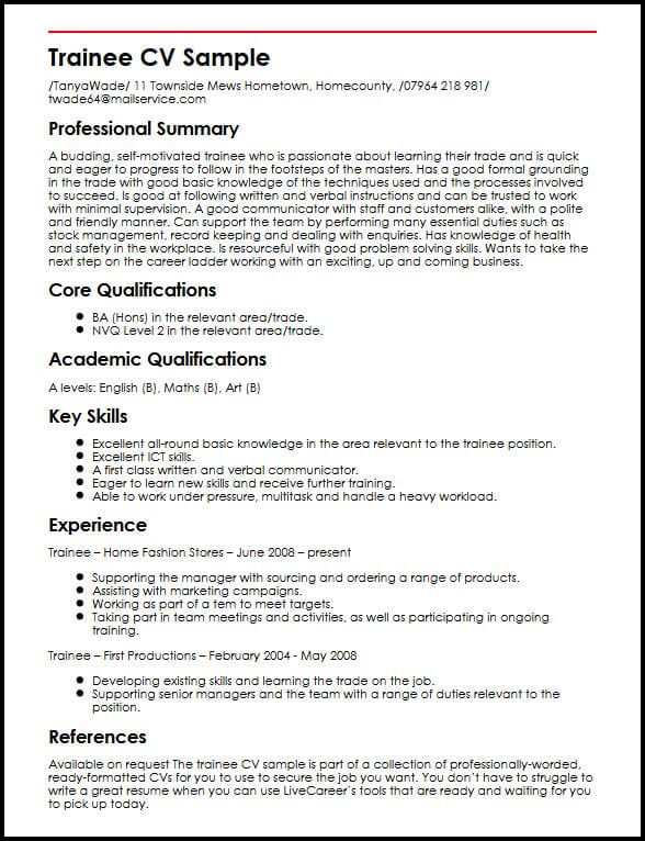 trainee cv example myperfectcv management resume for freshers sample best product manager Resume Management Trainee Resume For Freshers