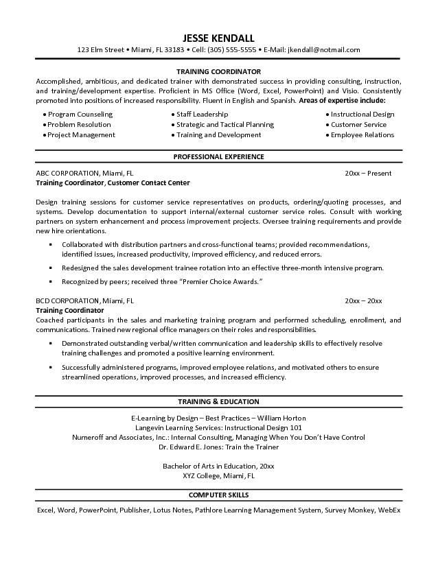 training coordinator resume free templates sample teaching examples another word for on Resume Another Word For Coordinator On Resume