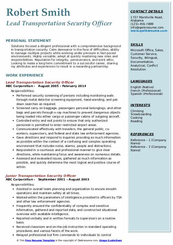 transportation security officer resume samples qwikresume airport objective pdf business Resume Airport Security Resume Objective
