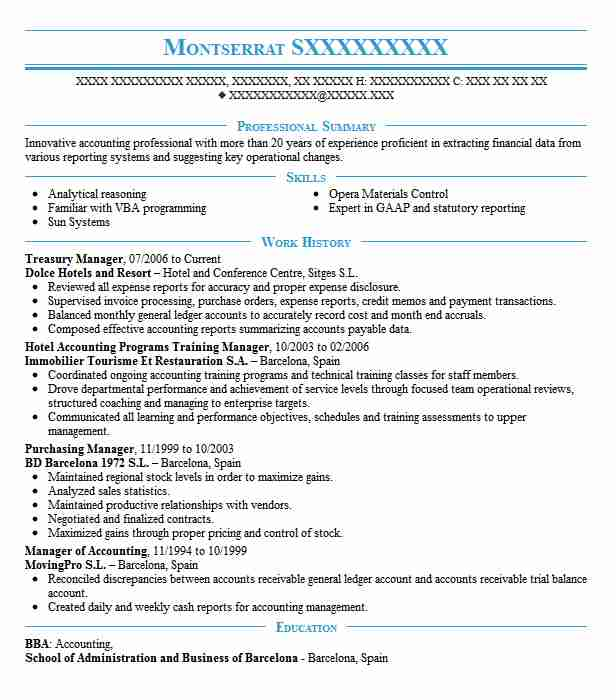 treasury manager resume example accountant resumes livecareer cash management samples mba Resume Cash Management Resume Samples