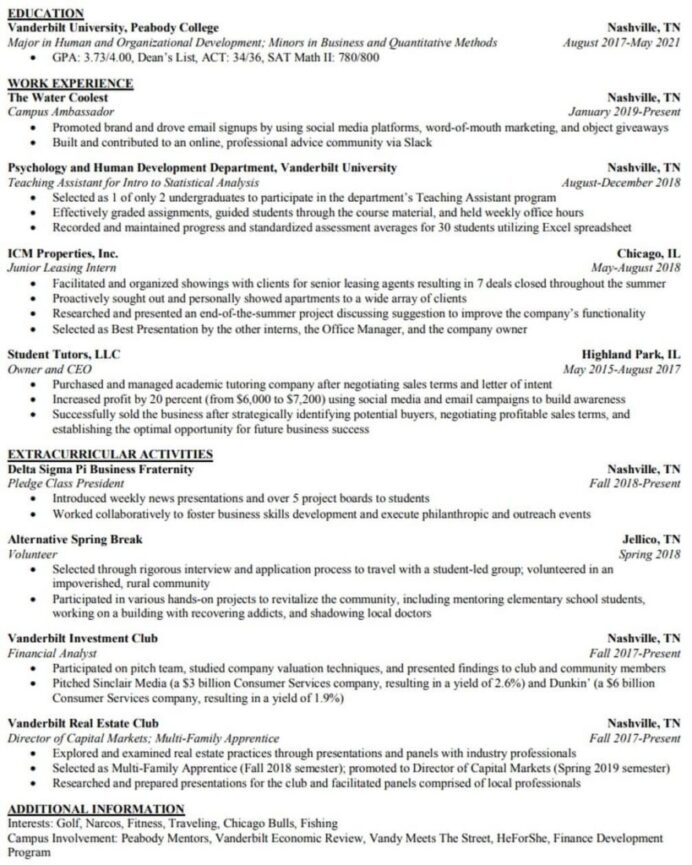 tricks to hack your investment banking resume with no experience template org 819x1024 Resume Investment Banking Resume Template