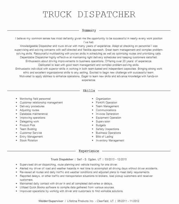 truck dispatcher resume example wideco transportation examples simple short graphic Resume Dispatcher Resume Examples