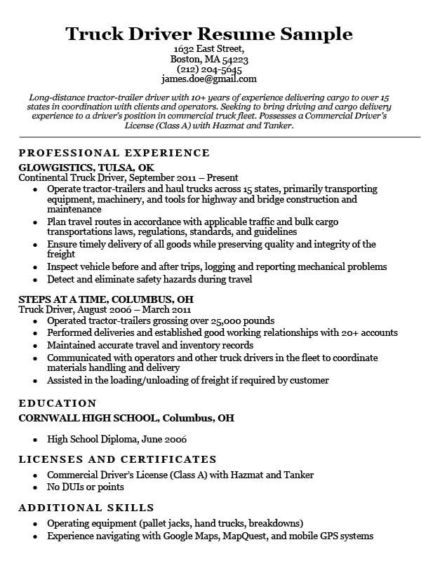 truck driver resume sample companion examples job jobs skills of government purchase card Resume Skills Of A Driver Resume