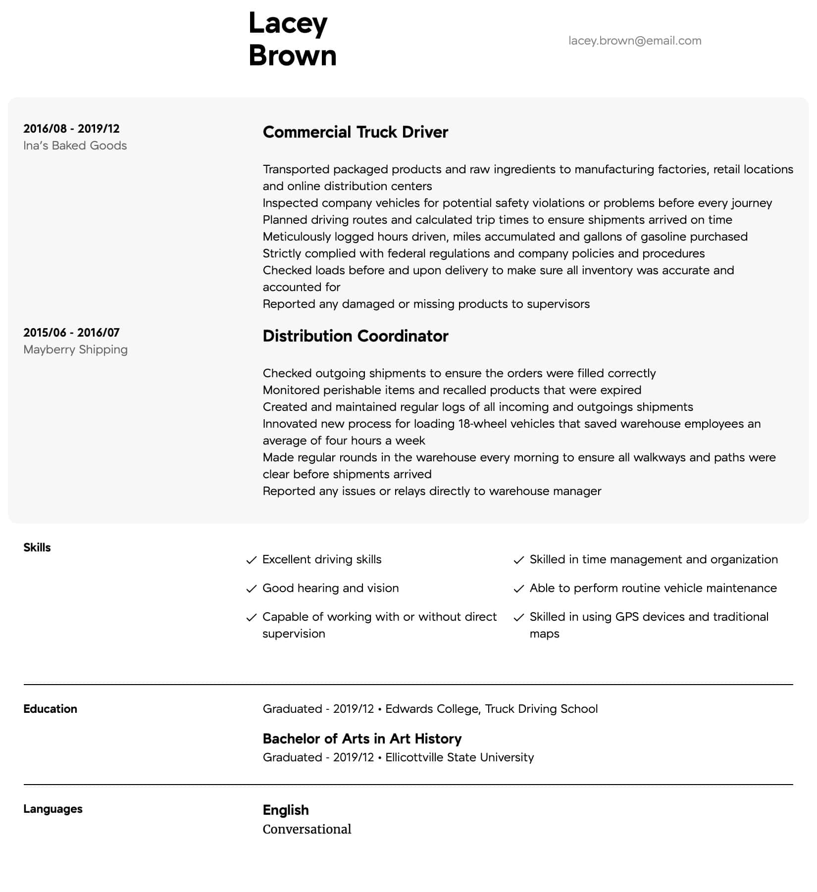 truck driver resume samples all experience levels free template intermediate chrono Resume Free Truck Driver Resume Template