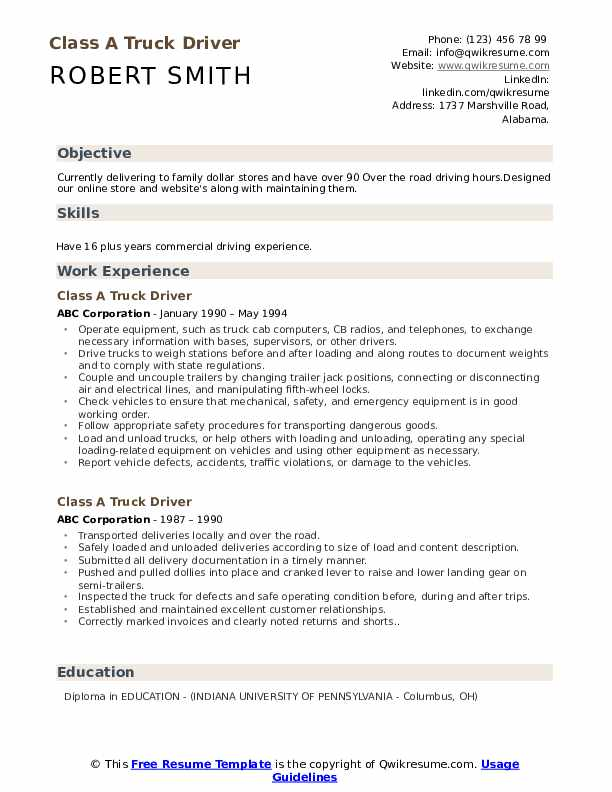 truck driver resume samples qwikresume free template pdf job application sample cover Resume Free Truck Driver Resume Template
