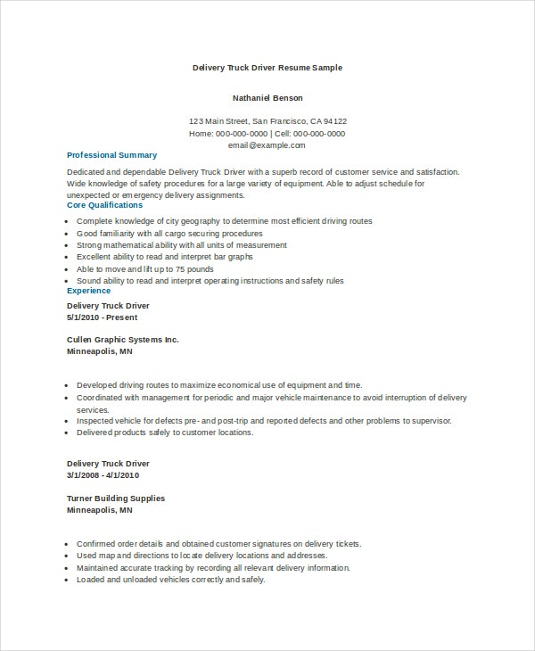 truck driver resume templates pdf free premium template delivery sample dependable google Resume Free Truck Driver Resume Template