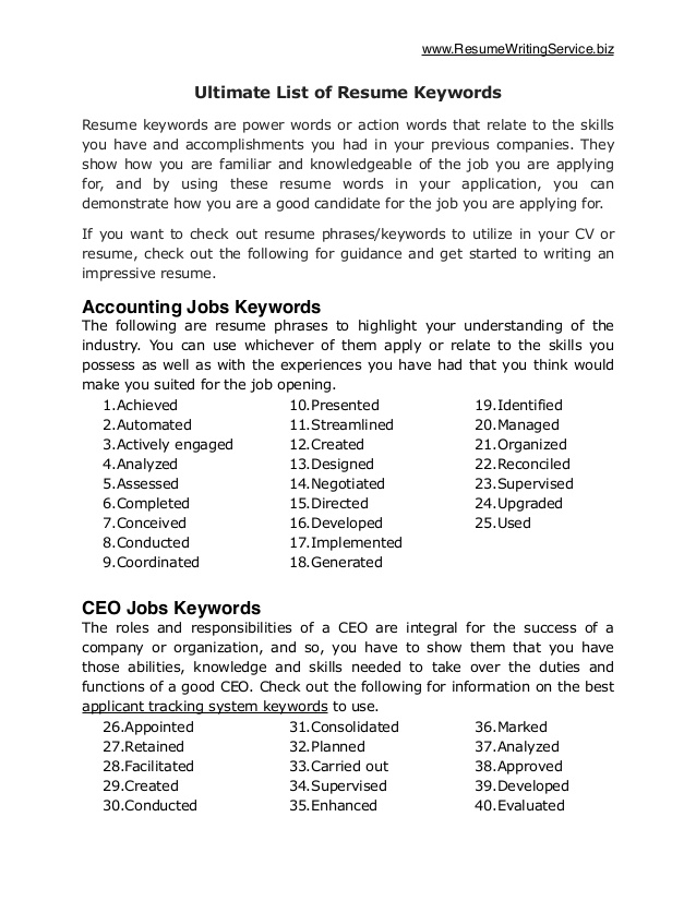 ultimate of resume keywords and phrases datapower sample claims adjuster summary Resume Resume Keywords And Phrases