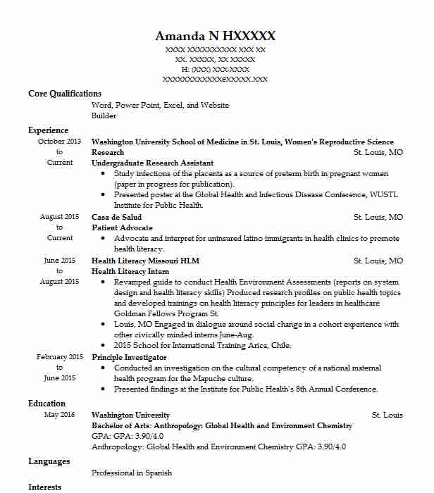 undergraduate research assistant resume example livecareer for position nightlife Resume Resume For Research Position
