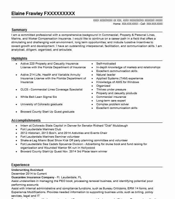 underwriting assistant resume example accountant resumes livecareer commercial Resume Commercial Underwriter Resume Examples