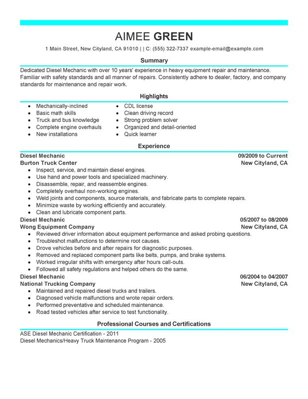 unforgettable diesel mechanic resume examples to stand out myperfectresume self employed Resume Self Employed Auto Mechanic Resume