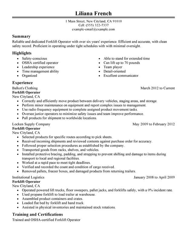 unforgettable forklift operator resume examples to stand out myperfectresume Resume Forklift Certification On Resume