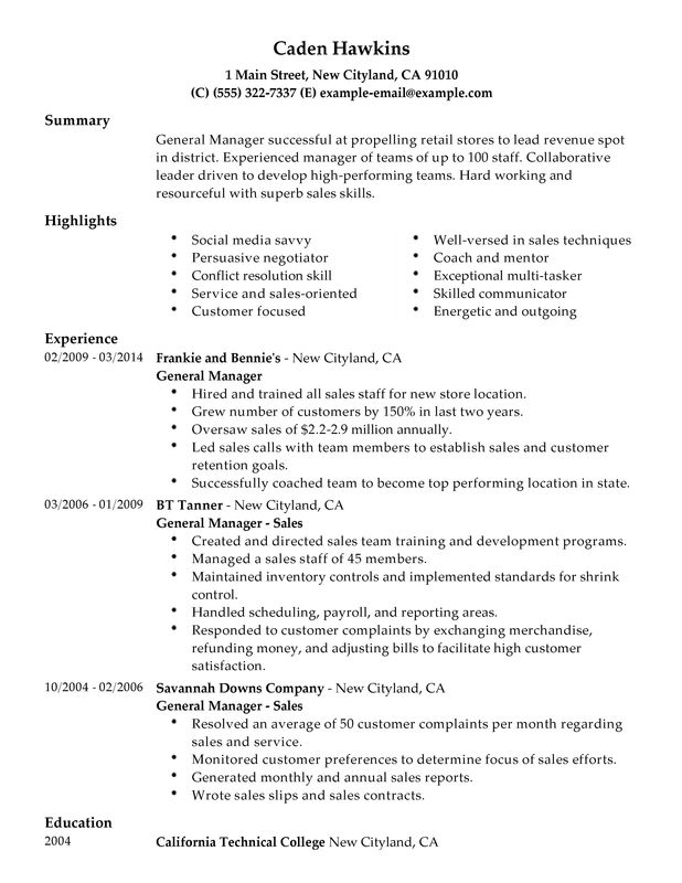 unforgettable general manager resume examples to stand out myperfectresume personal Resume General Personal Summary For Resume