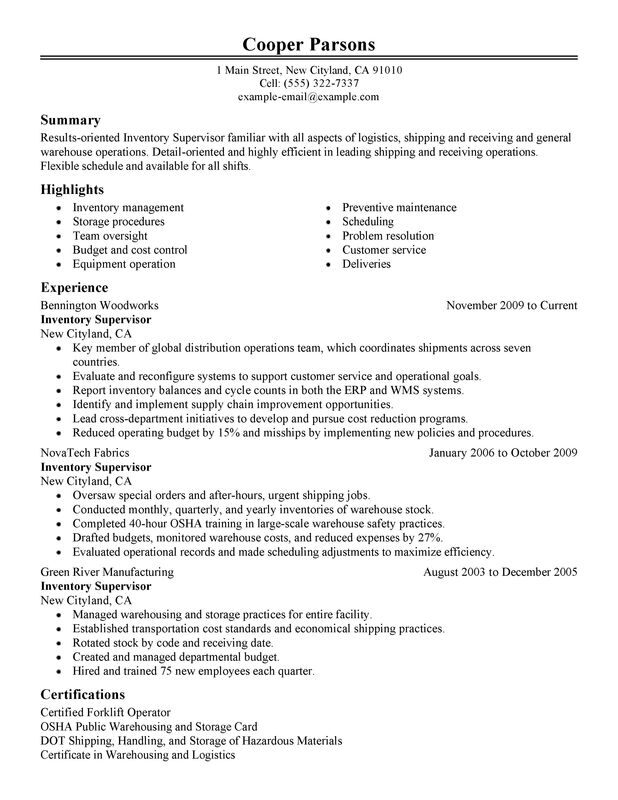 unforgettable inventory supervisor resume examples to stand out myperfectresume Resume Distribution Center Manager Resume Objective