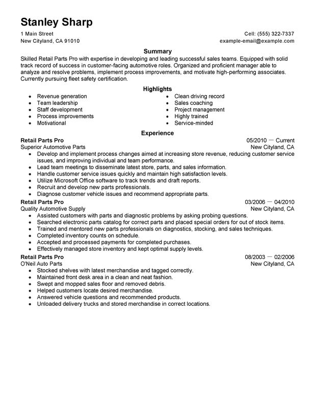 unforgettable retail parts pro resume examples to stand out myperfectresume of Resume Parts Of A Professional Resume