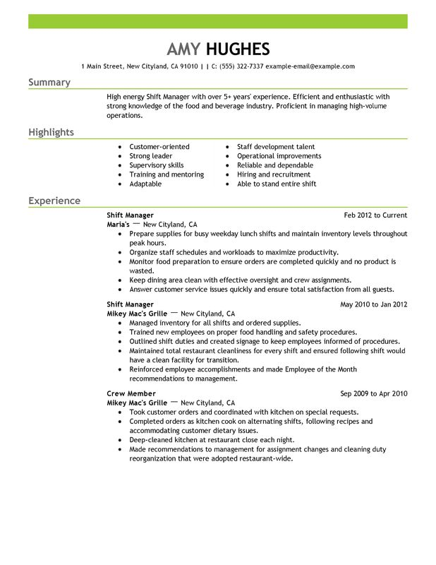 unforgettable shift manager resume examples to stand out myperfectresume mcdonalds job Resume Mcdonalds Cook Job Description Resume