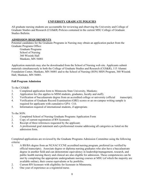 university graduate policies college of allied health and nursing professional resume for Resume Professional Resume For Graduate School Admission