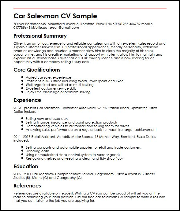 use this car salesman cv example to start yours myperfectcv auto salesperson resume Resume Auto Salesperson Resume