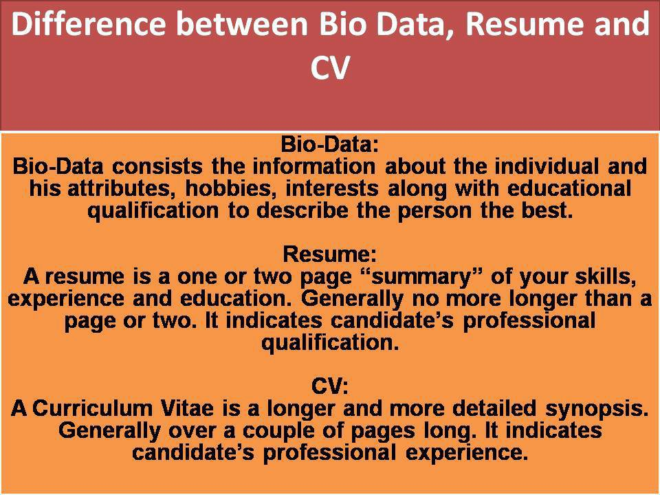 useful one bio data vs resume cv difference between curriculum vitae and biodata Resume Difference Between Curriculum Vitae And Resume And Biodata