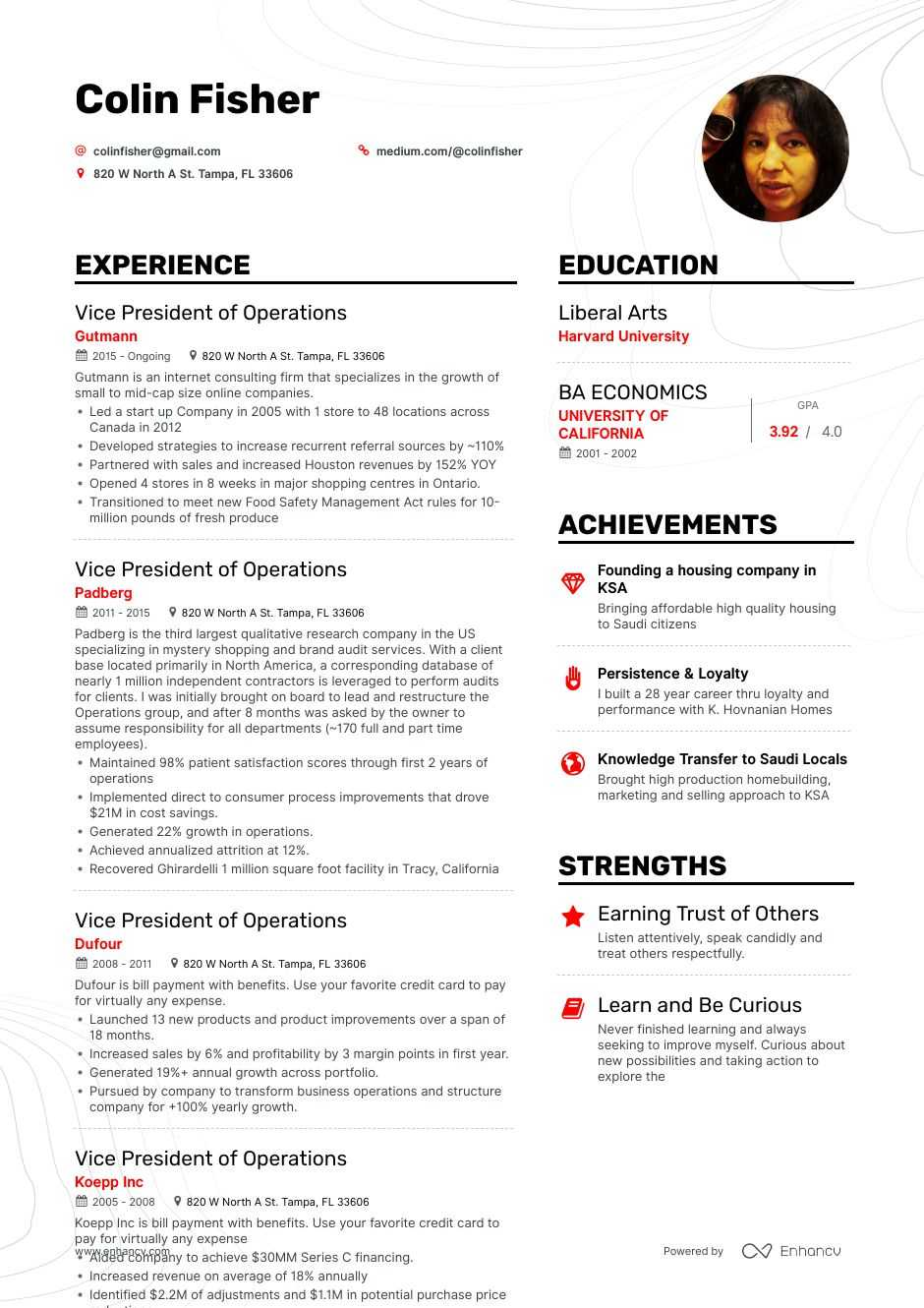 vice president of operations resume example for enhancv examples special forces officer Resume Vice President Resume Examples