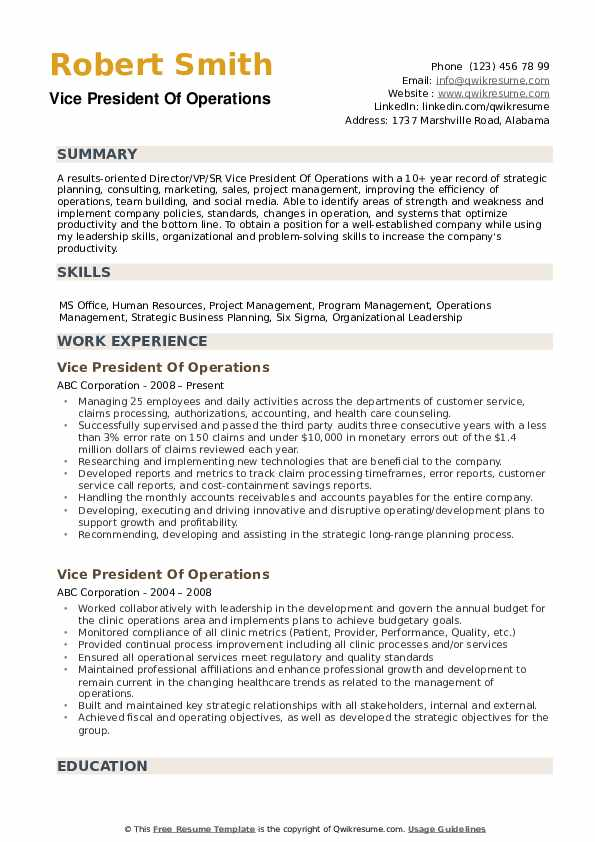 vice president of operations resume samples qwikresume examples pdf free templates ats Resume Vice President Resume Examples
