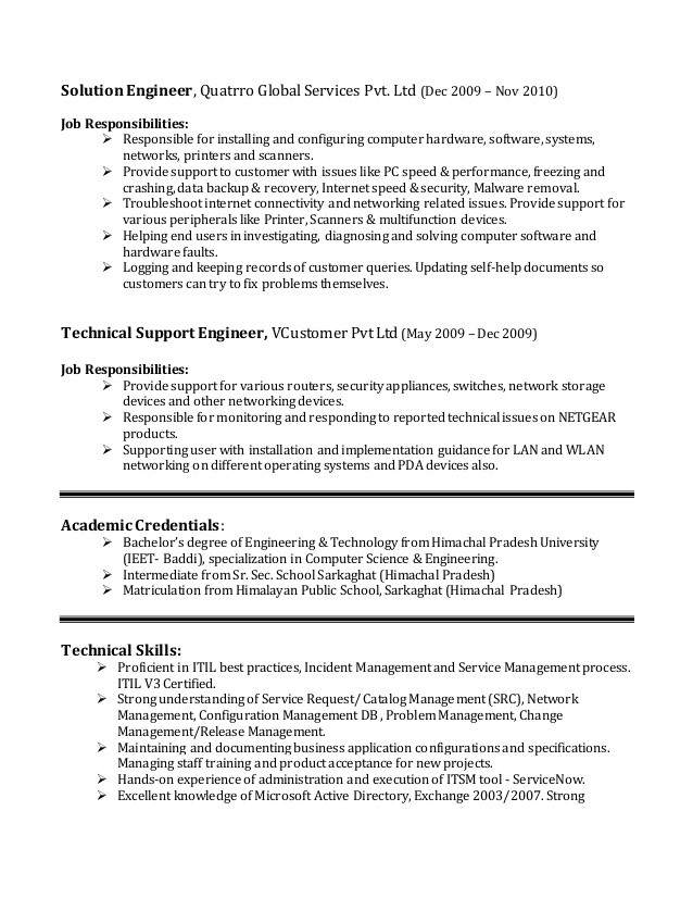 vishal guleria itil certified it service management lead updated re resume examples new Resume Itil Certified Resume Examples