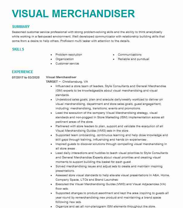 visual merchandiser resume example retail resumes livecareer sample for whole foods Resume Visual Merchandiser Resume