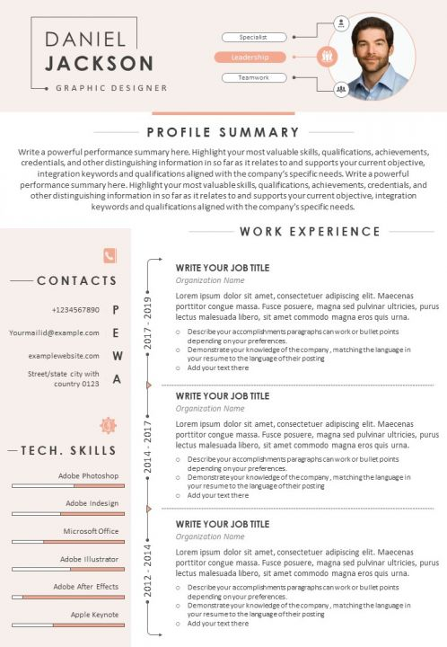 visual resume sample for graphic designer with profile summary presentation powerpoint Resume Profile Summary For Resume