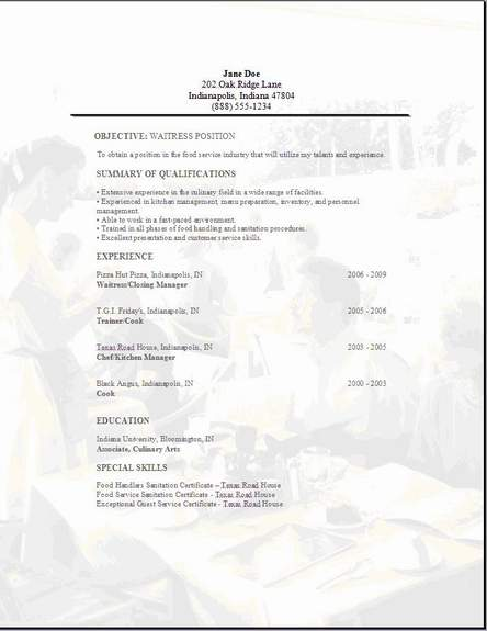 waitress resume examples samples free edit with word server resume3 paraprofessional Resume Waitress Server Resume Examples