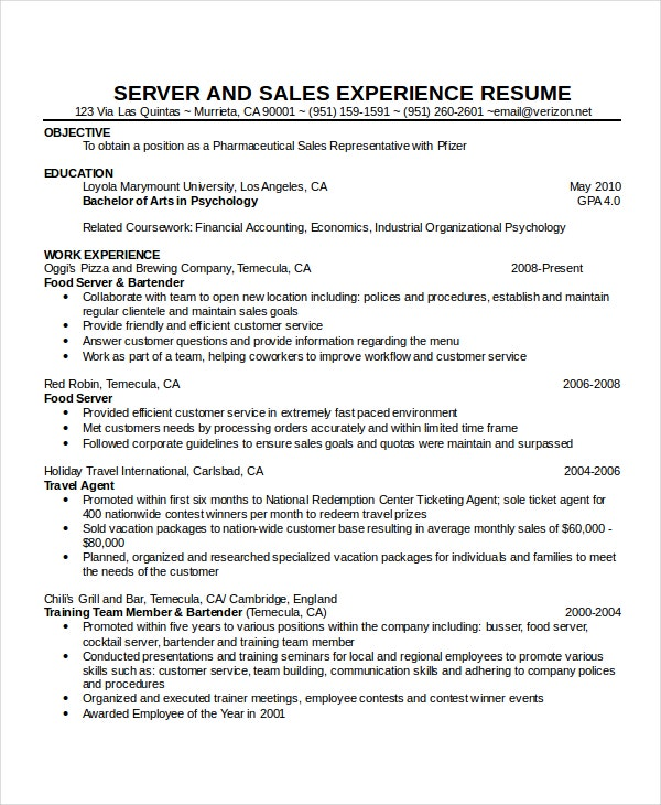 waitress resume template free word pdf document downloads premium templates work Resume Work Experience Restaurant Resume