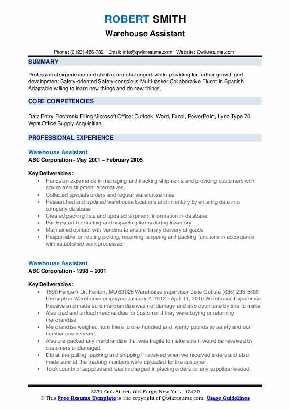 warehouse assistant resume samples qwikresume entry level objective pdf email format Resume Entry Level Warehouse Resume Objective