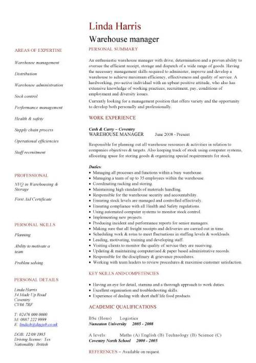 warehouse manager cv sample distribution center resume objective pic template good Resume Distribution Center Manager Resume Objective
