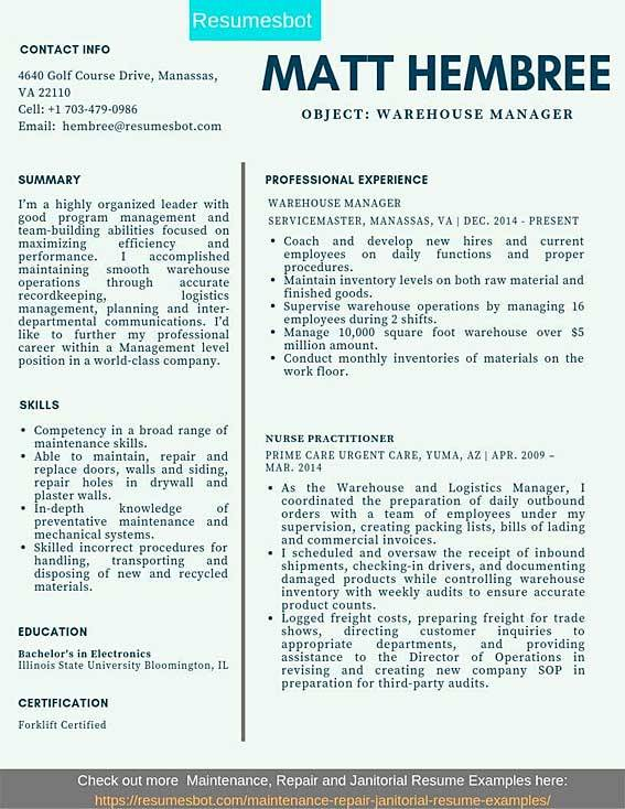 warehouse manager resume samples templates pdf resumes bot for position example accounts Resume Resume Samples For Warehouse Position