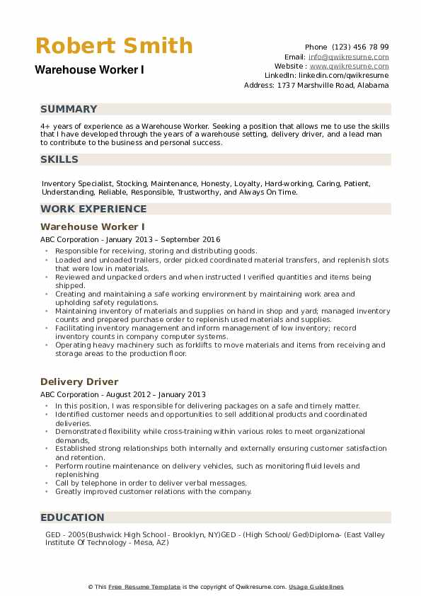 warehouse worker resume samples qwikresume for position pdf simple template free Resume Resume Samples For Warehouse Position