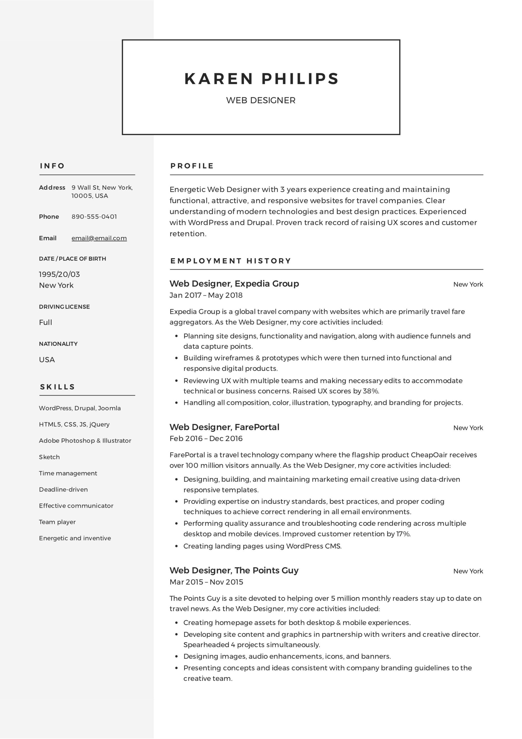 web designer resume example examples template free format headline tips for references Resume Web Designer Resume Format Free Download