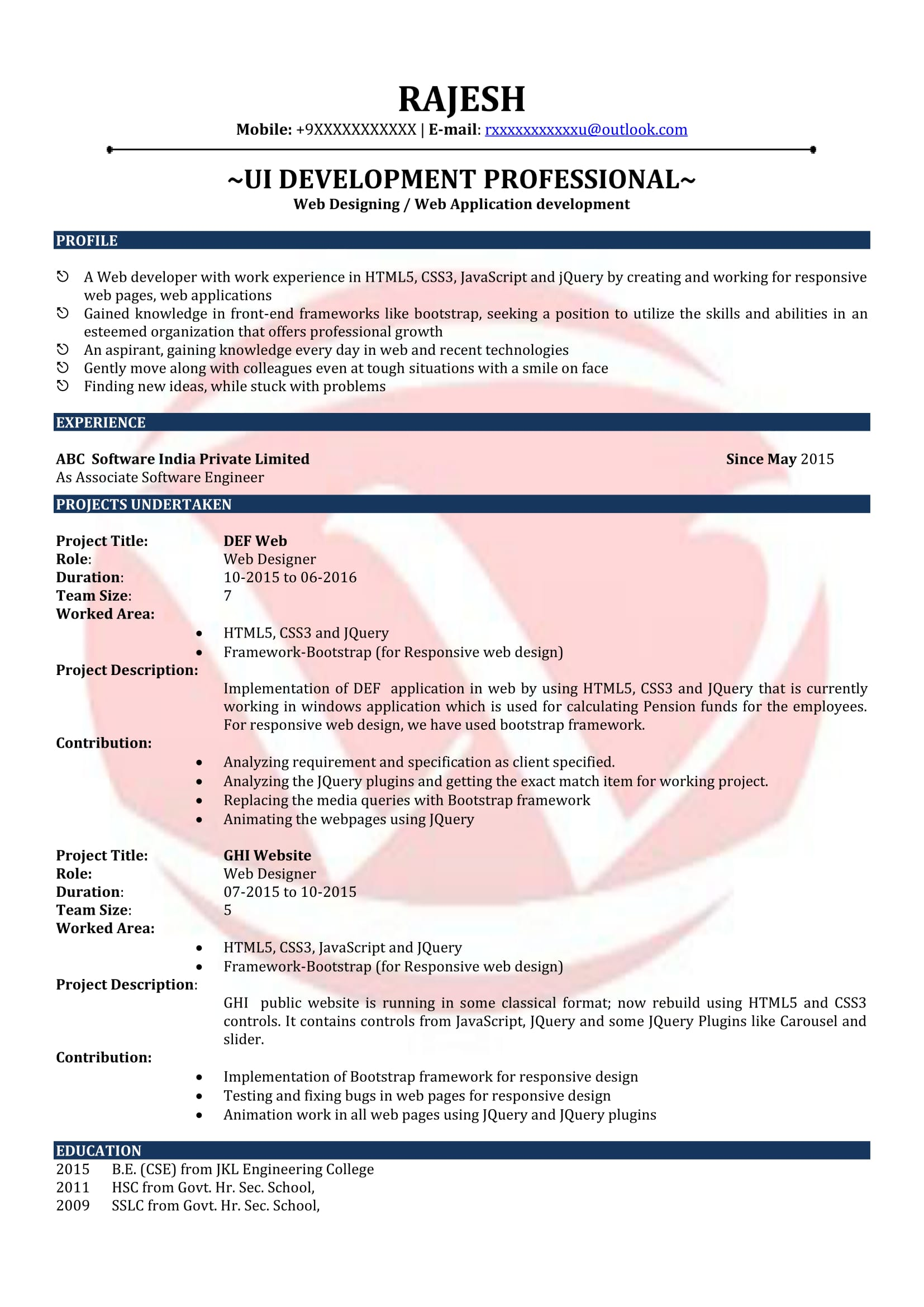 web designer sample resumes resume format templates for freshers executive assistant Resume Web Designer Resume Sample For Freshers
