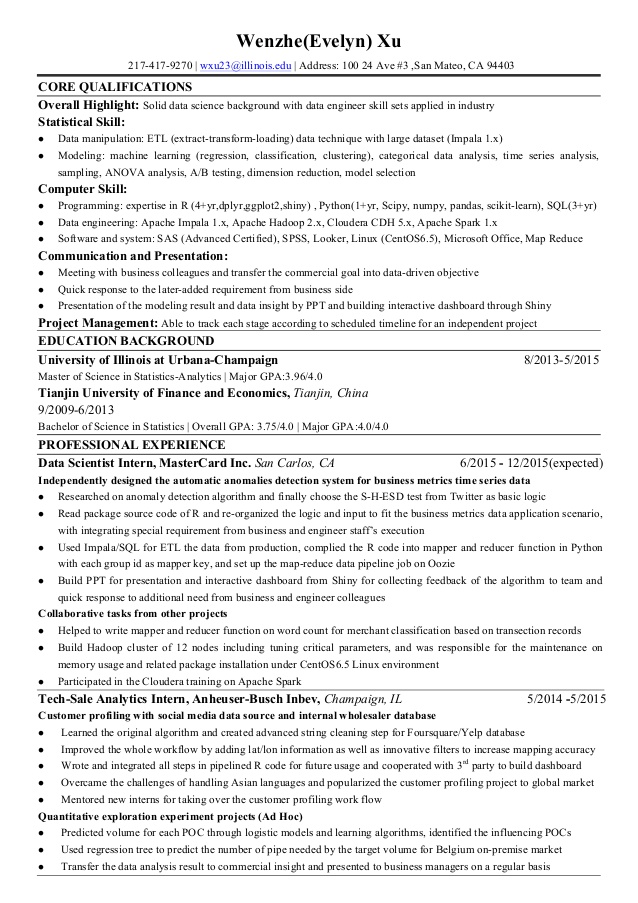 wenzhe xu evelyn resume for data science with python safety coordinator examples par Resume Data Science With Python Resume