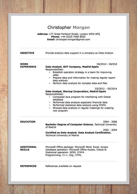 word document resume with photo in format standard template for sample financial Resume Standard Resume Template Word